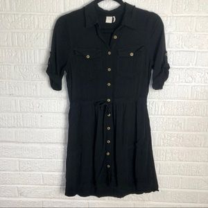 Black Paper Crane Button Up Dress
